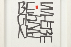 Begin Anywherere. Text by John Cage. Pencil and gouache on Japanese tissue wrapped round board. 21cm x 19.5cm