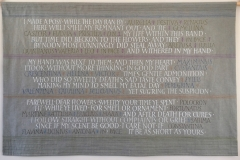 Large painted and embroidered panel, poem by George Herbert.