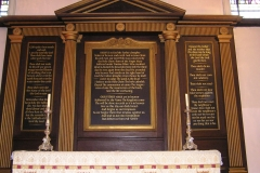 Reredos screen for Holy Trinity Church Clapham, London. Lettering especially designed for the panels and painted in gold acrylic paint.