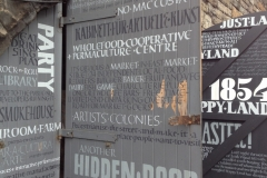What might be …  Doors painted with text relating to past, present and future of disused vaults Hidden Door Festival, East Market Street, Edinburgh, 2014