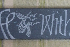 """Peace Bee with you"" - Cumbrian Green slate, fine rubbed surface (2018), Dim. 78x357mm"