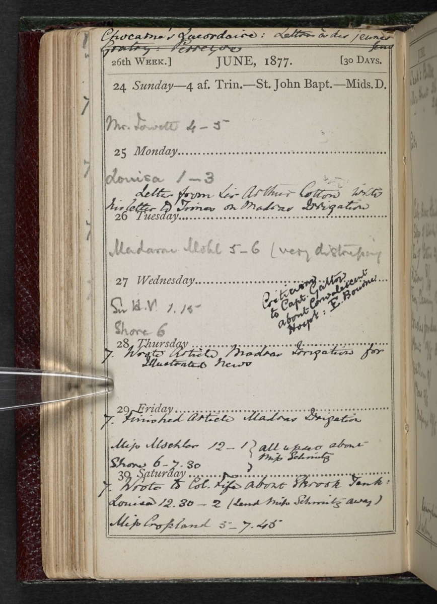 Florence Nightingale appointment diary June 1877